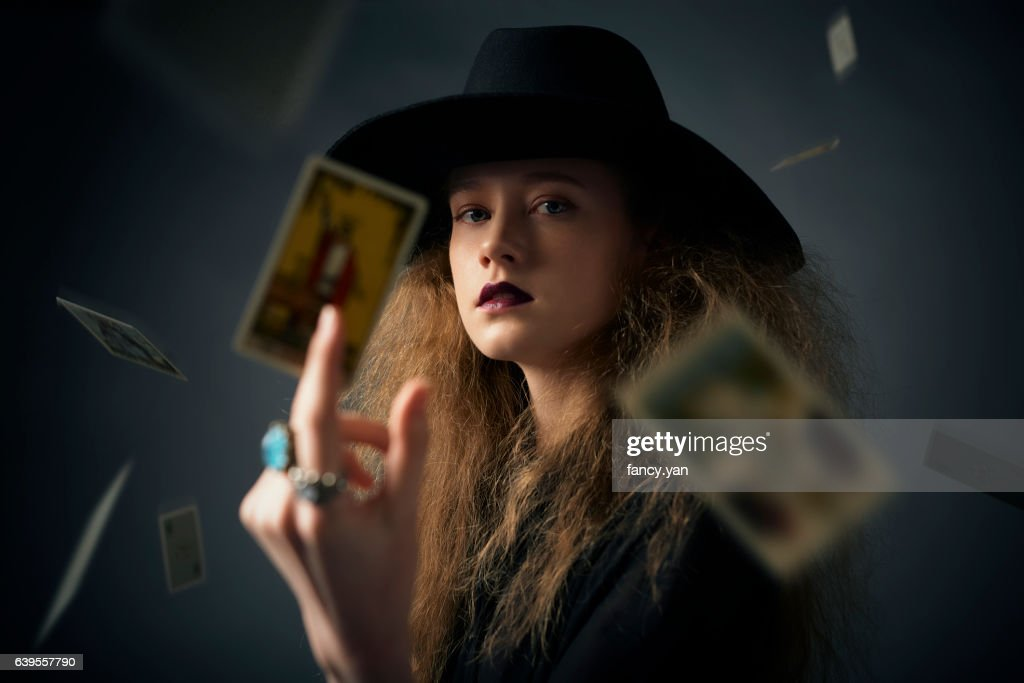 the magician playing cards of destiny : Stock Photo