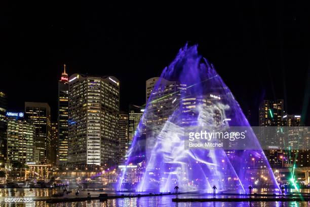 The Magicians in the Mist lightshow at Darling Harbour on May 29 2017 in Sydney Australia Vivid Sydney is an annual festival that features light...