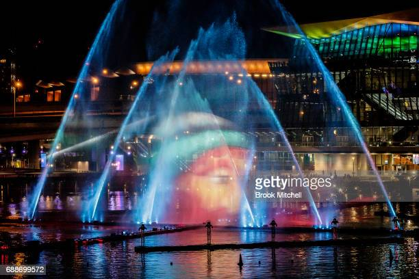 The Magicians of the Mist lightshow at Darling Harbour during Vivid on May 26 2017 in Sydney Australia Vivid Sydney is an annual festival that...