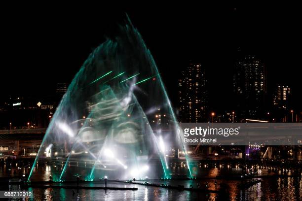 The Magicians of the Mist lightshow on May 26 2017 in Sydney Australia Vivid Sydney is an annual festival that features light sculptures and...