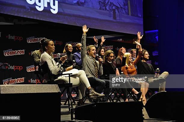 CON 'The Magicians Panel' Pictured Moderator Aisha Tyler Arjun Gupta Summer Bishil Rick Worthy Jason Ralph Jade Tailor Stella Maeve EP Sera Gamble...