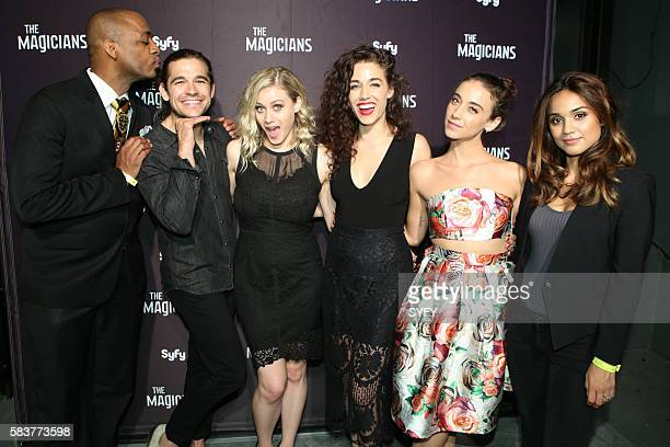 DIEGO 'The Magicians Party at Hotel Solamar' Pictured Rick Worthy Jason Ralph Olivia Taylor Dudley Jade Tailor Stella Maeve Summer Bishil