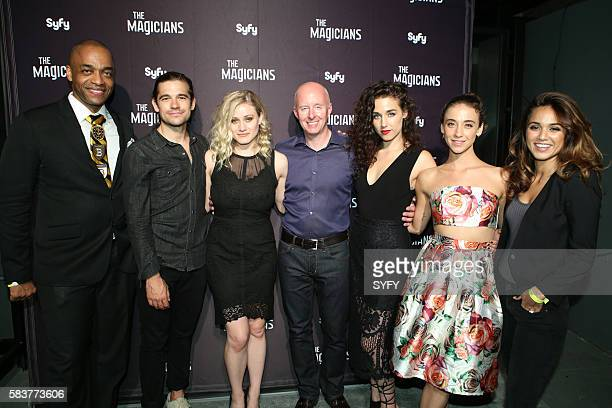 DIEGO 'The Magicians Party at Hotel Solamar' Pictured Rick Worthy Jason Ralph Olivia Taylor Dudley President SyFy/USA Chris McCumber Jade Tailor...