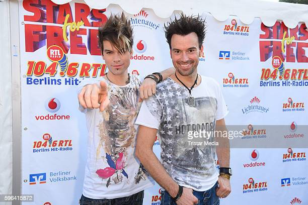 The magier duo Andreas Ehrlich and Christian Ehrlich alias Ehrlich brothers attend the Stars For Free 2016 Open Air Festival on August 27 2016 in...