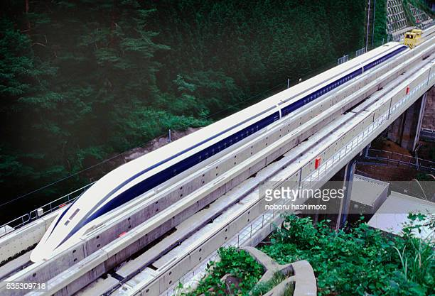 The Maglev can reach up to speeds of 500km/hr and benefits from a contact free levitating principle