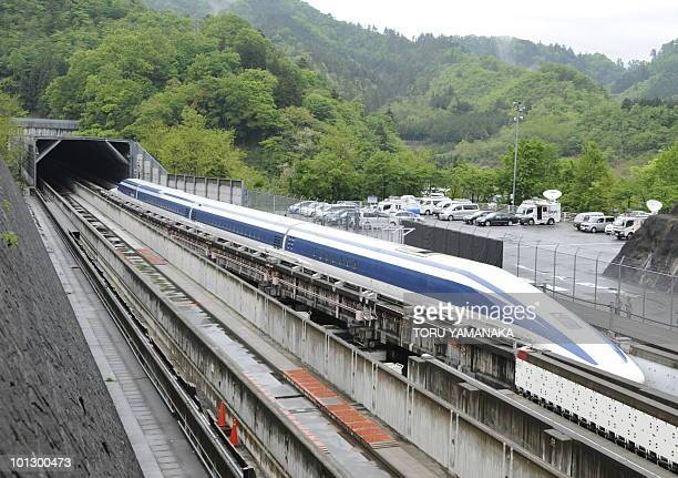 The Maglev train speeds during a test run on the experimental track in Tsuru 100km west of Tokyo on May 11 2010 US Transportation Secretary Ray...