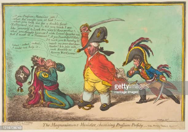 The Magnanimous Minister Chastising Prussian PerfidyvideMorning Chronicle April 28th May 2 1806 Artist James Gillray