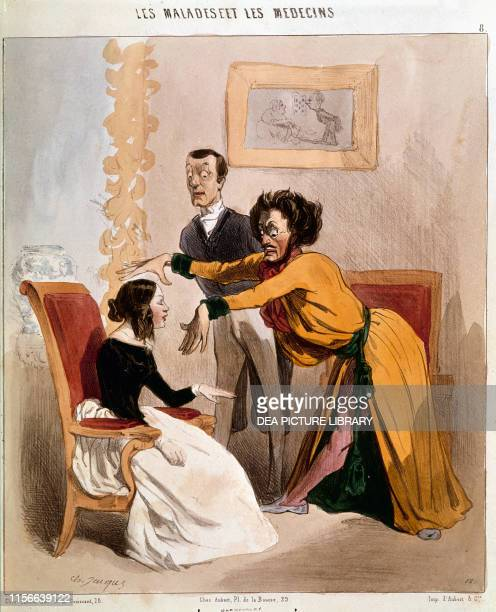 The magnetizer physician coloured lithograph by Charles Jacque, from the series Les malades et les medecins , from the satirical magazine Le...