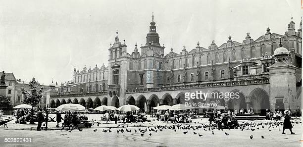 The magnificent 14th century city hall of Cracow; now a shopping arcade; dominates Market Square in an area of the city described as a masterpiece of...