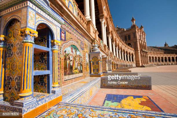 the magnificent plaza de espana in maria louisa park in seville, spain. - seville stock pictures, royalty-free photos & images