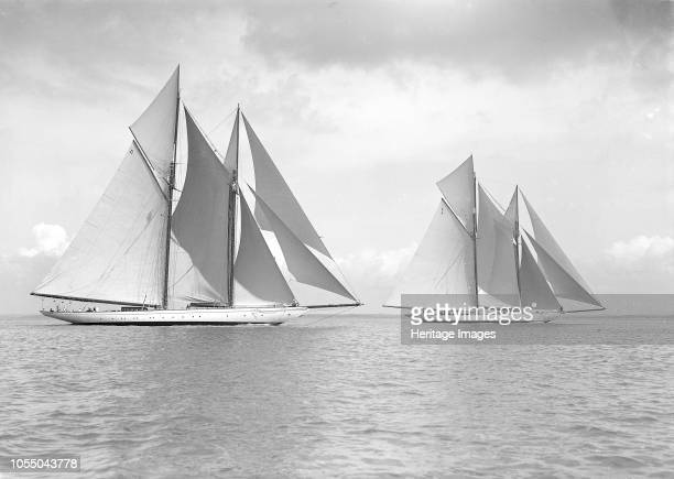 The magnificent schooners 'Germania' and 'Waterwitch' 1911 The 250 ton schooner 'Germania' was designed by Max Oertz and owned by the German...