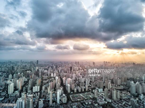 the magnificent sunset glow over shanghai city - east asia stock pictures, royalty-free photos & images