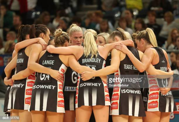 The Magpies form a team huddle during the round seven Super Netball match between the Magpies and the Vixens at Hisense Arena on April 2 2017 in...