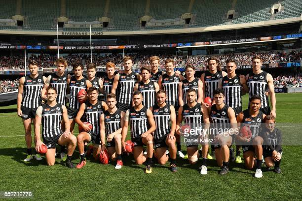 The Magpies players pose for a team photo prior to the SANFL Grand Final match between Port Adelaide and Sturt at AAMI Stadium on September 24 2017...