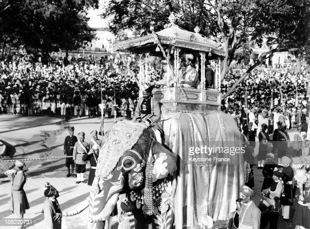 The Maharadjah Of Mysore Files By On Baldaquin On ElephantBack During The Dasara Celebration A National Celebration In The State Of Karnataka In...