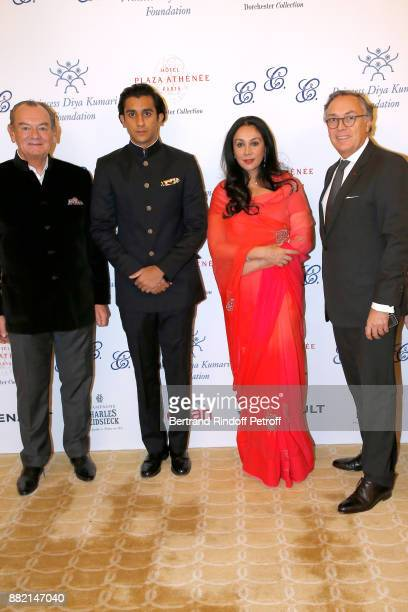 HRH the Maharaja Sawai Padmanabh Singh of Jaipur his mother HRH Princess Diya Kumari of Jaipur and Director of the Plaza Athenee Hotel Francois...