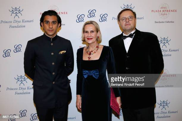 HRH the Maharaja Sawai Padmanabh Singh of jaipur Public Relations Director of the RenaultNissan Alliance Claude Hugot and his wife Isabelle attend...