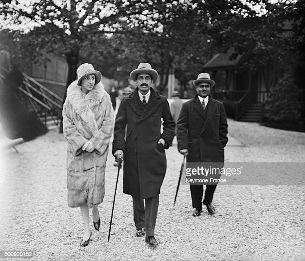 The maharajah of Indore with wife Nancy Miller during their honeymooon at Roland Garros tennis stadium in Paris France in 1928