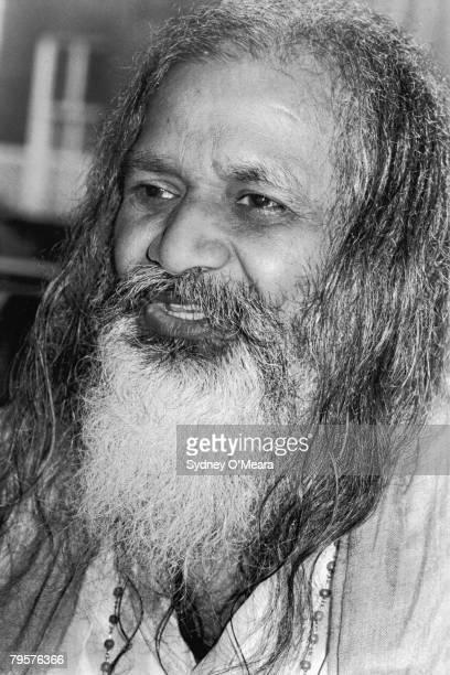 The Maharishi Mahesh Yogi founder of the school of Transcendental Meditation before a meeting at Kensington Town Hall 20th March 1975