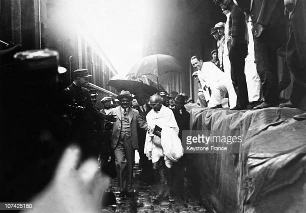The Mahatma Gandhi At The Station At Marseille In France On 1934