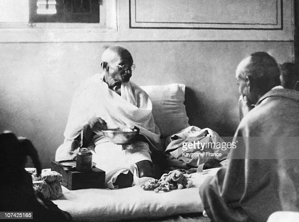 The Mahatma Gandhi Eating For The First Time After His Release From Prison At Asia In India