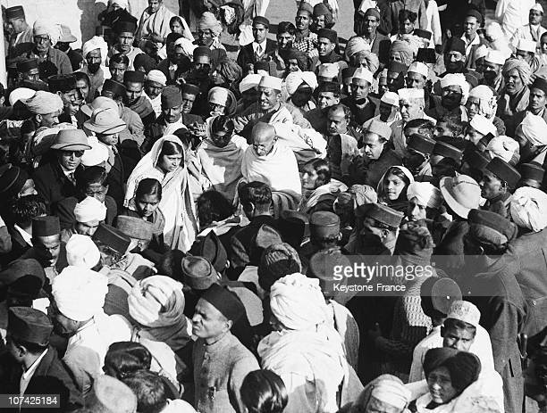 The Mahatma Gandhi In The Indian Crowd In India During Forties