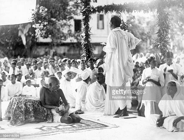 The Mahatma GANDHI sitting on the left listening to a question from DrBC ROY concerning the foundation of the health care center for children of the...