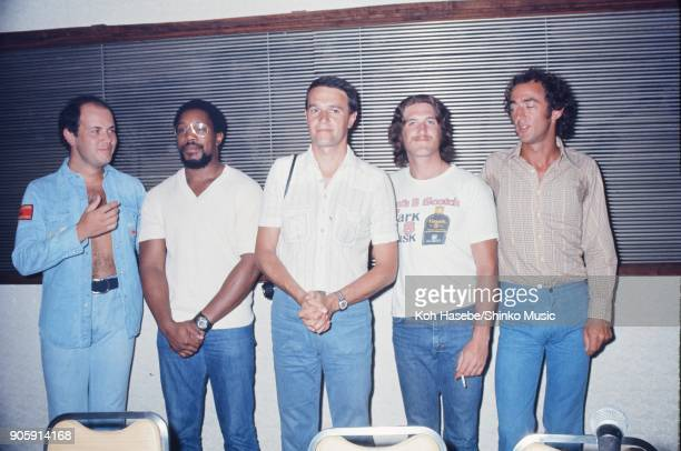 The Mahavishnu Orchestra at press conference, September Tokyo, Japan. John McLaughlin, Jan Hammer, Rick Laid, Jerry Goodman, Billy Cobham.
