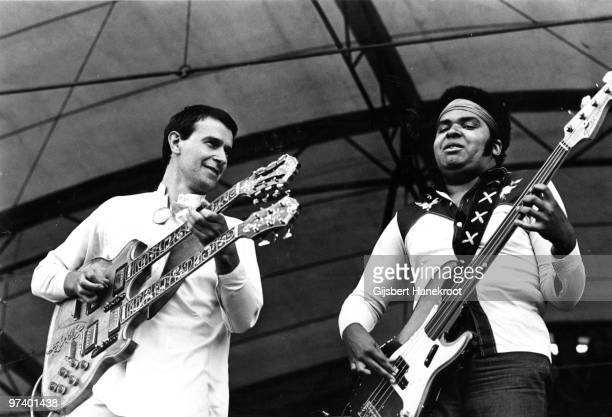The Mahavishnu Orchestra perform live on stage in Amsterdam, Netherlands in 1973 L-R John McLaughlin, Ralphe Armstrong