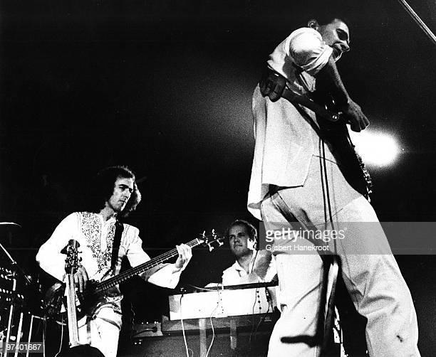 The Mahavishnu Orchestra perform live on stage in Amsterdam, Netherlands in 1973 L-R Rick Laird, Jan Hammer, John McLaughlin