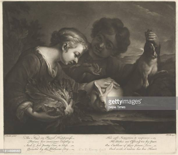 The Maid in Rural Happiness, Print made by Pieter van Bleeck, 1700–1764, Dutch, active in Britain , after Bartolome Murillo, 1617–1682, Spanish...