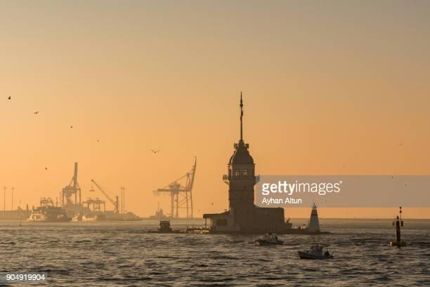 The Maiden's Tower at sunrise , Uskudar, Istanbul,Turkey