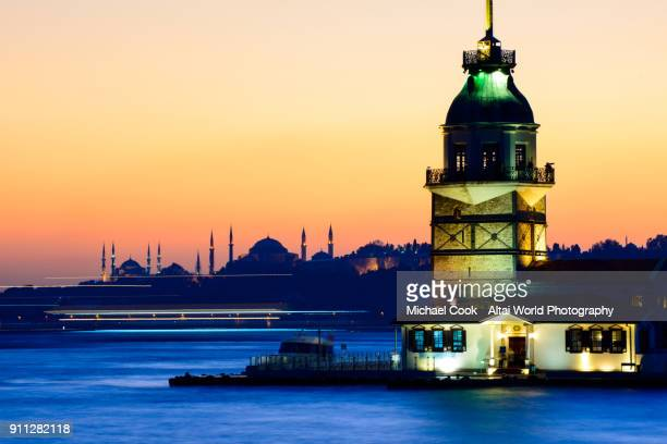 The Maiden's Tower Flanked by Aya Sofya and the Blue Mosque on the Bosphorus