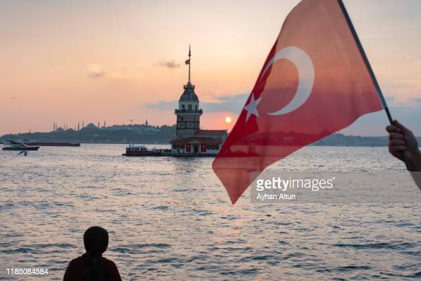 the maiden's tower in istanbul,turkey - ottoman empire stock pictures, royalty-free photos & images
