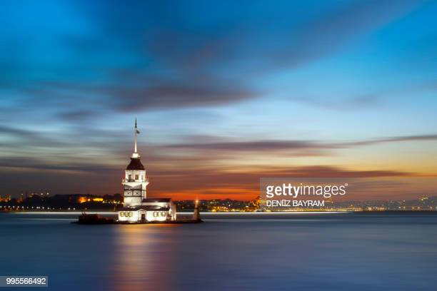 The Maiden's Tower in the Bosphorus Strait in Istanbul, Turkey.