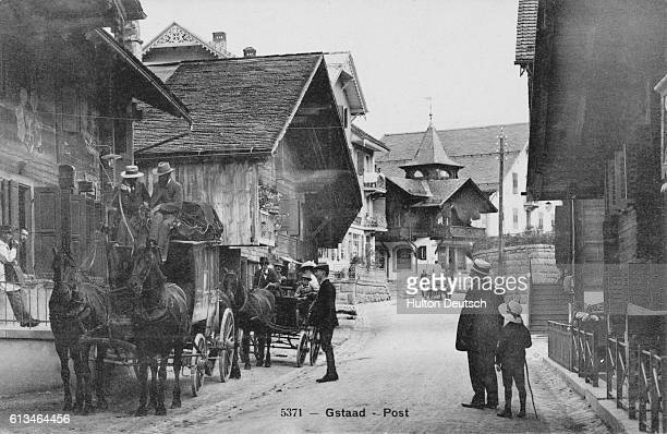 The mail coach at Gstaad in Switzerland