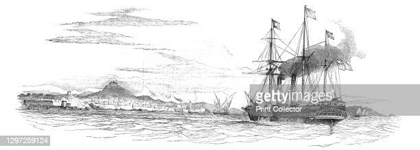 The Mail Packet from Alexandria, off Marseilles - the Indian Mail on board, 1844. Postal service between Britain and India: 'The India Mail -...