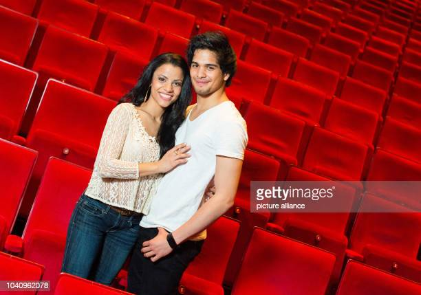 The main actors of the musical 'Aladdin' Myrthes Monteiro and RichardSalvador Wolff pose at the Theater Neue Flora musical theater in Hamburg Germany...