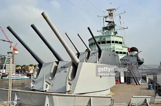 The main armament of the cruiser Belfast,12 × 6-inch guns