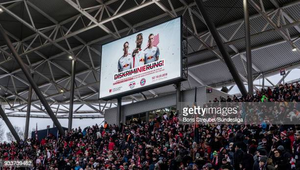 The main board is pictured during the Bundesliga match between RB Leipzig and FC Bayern Muenchen at Red Bull Arena on March 18 2018 in Leipzig Germany