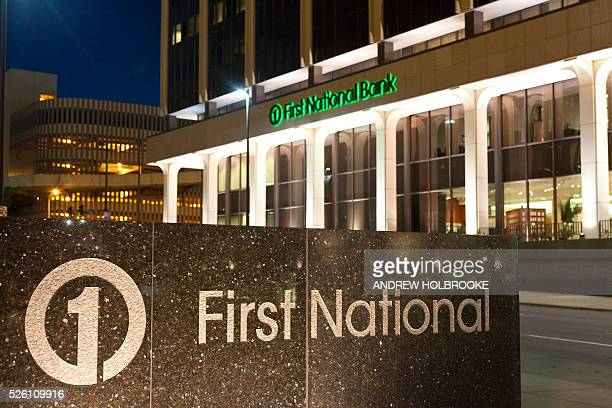 The main branch of the First National Bank the largest privately owned banking company in the United States in Omaha Across the street from the...