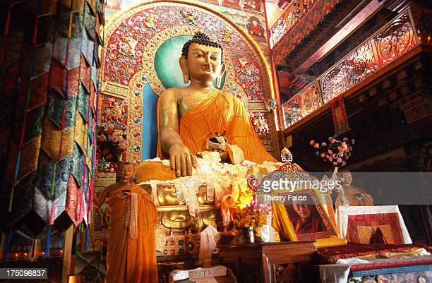 The main Buddha statue in the Tawang monastery a 8meter high statue covered with gold