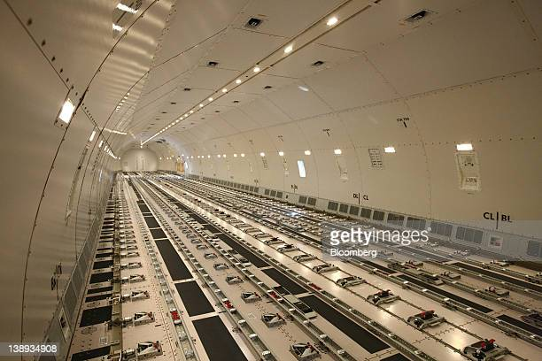 The main cargo hold of a Korean Air Lines Co Boeing Co 777 freighter sits empty during a media preview at Incheon International Airport in Incheon...