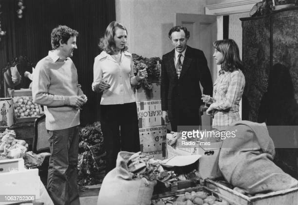 The main cast of the television show 'The Good Life' Penelope Keith Richard Briers Paul Eddington and Felicity Kendal pictured smiling on set as they...