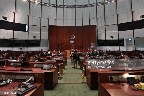 The Main Chamber is seen during a media tour of the Legislative Council in Hong Kong on July 3 two days after protesters broke into the complex Hong...