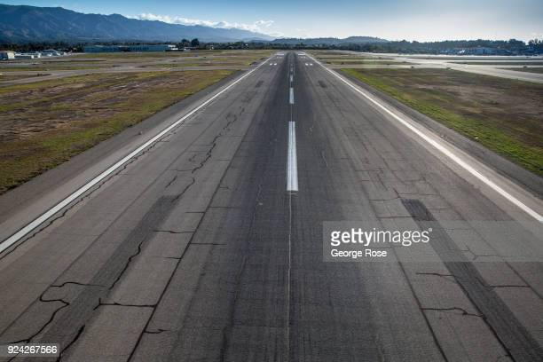 The main commercial runway at Santa Barbara Airport is viewed in this aerial photo taken on February 23 in Santa Barbara California A combined series...
