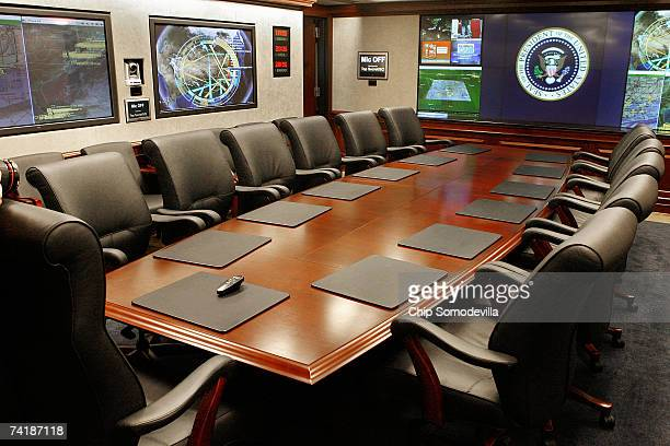 The main conference area of the White House Situation Room has been newly remodeled and was shown to the press May 18 2007 in Washington DC The...