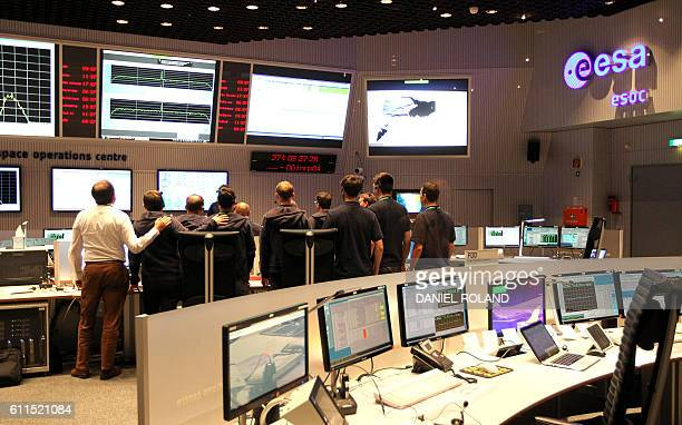 The main control room the European Space Operation Center in Darmstadt Germany is pictured on September 30 2016 during the controlled descent of the...