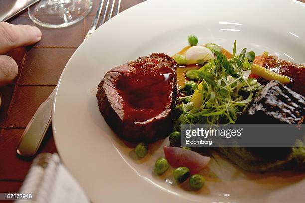 The main course of duo of beef featuring tenderloin and braised short ribs arrives at the Film Society of Lincoln Center 40th Anniversary Chaplin...