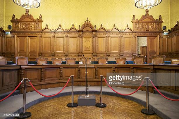 The main courtroom seating area for the judges and lawmakers conducting the trial of Christine Lagarde managing director of the International...
